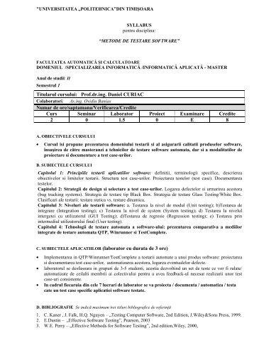 Metode de testare software - Facultatea de Automatică și Calculatoare