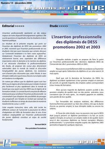 L'insertion professionnelle des diplômés de DESS ... - OFIVE - Lille 3