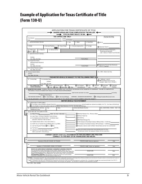 Texas 130 U >> Registering Vehic