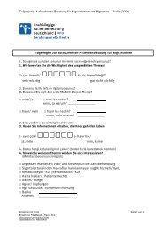 Fragebogen für aufsuchende Gruppenberatung in Deutsch und ...