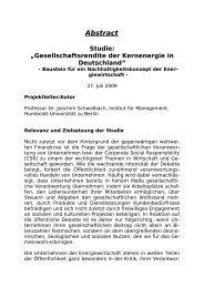 "Abstract ""Gesellschaftsrendite der Kernenergie in Deutschland"""
