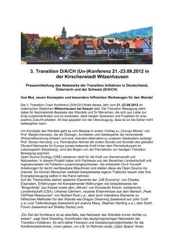 Einladung 3. Transition (Un-)Konferenz - Neustart Schweiz