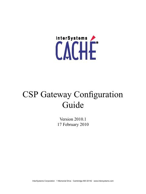 CSP Gateway Configuration Guide - InterSystems Documentation
