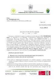 Către: SC PEDROMAR SRL Adresa: sat Damideni, Loc.Romaneşti ...