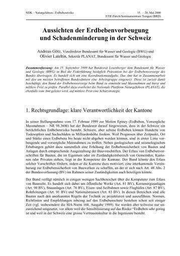Aussichten der Erdbebenvorbeugung und ... - ETH Zürich
