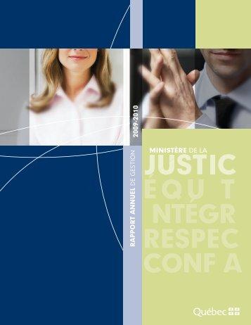 Rapport annuel de gestion 2009-2010 du ministère de la Justice.