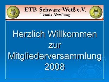Neuwahlen des Abteilungsvorstandes - ETB Schwarz - Weiß e.V.