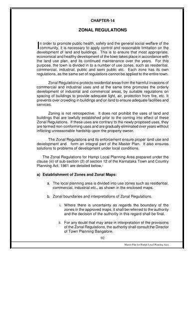 Zonal Regulations Bellary District