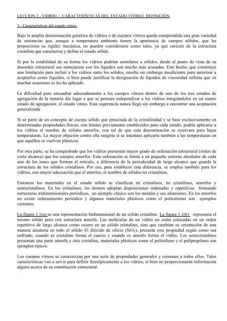 Leccion2 Vidrio Definicion Caracteristicasestadovitreo