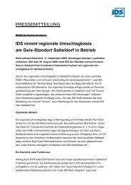 IDS nimmt regionale Umschlagbasis am Geis ... - IDS Logistik GmbH