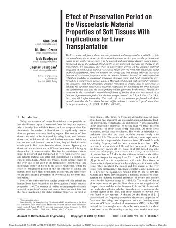 Effect of Preservation Period on the Viscoelastic Material Properties ...