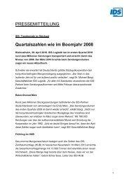 Quartalszahlen wie im Boomjahr 2008 - IDS Logistik GmbH