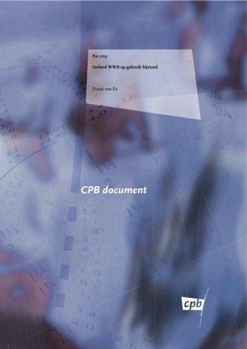 [PDF] Invloed WWB op gebruik bijstand - Centraal Planbureau