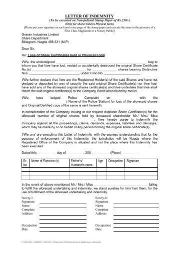 Sanctions warranty and indemnity letter waybill number dhl letter of indemnity for loss of original share certificate grasim altavistaventures Choice Image