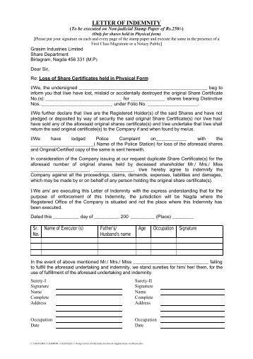 Letter Of Indemnity For Loss Of Original Share Certificateâu20ac¦   Grasim