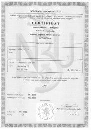 certifikát NBÚ - Eurosat CS