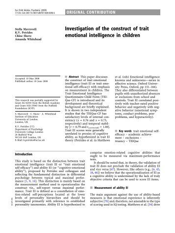 the role of trait emotional intelligence Conflict resolution strategies and organizational citizenship behavior: the moderating role of trait emotional intelligence samuel o salami university of ibadan, ibadan, nigeria.