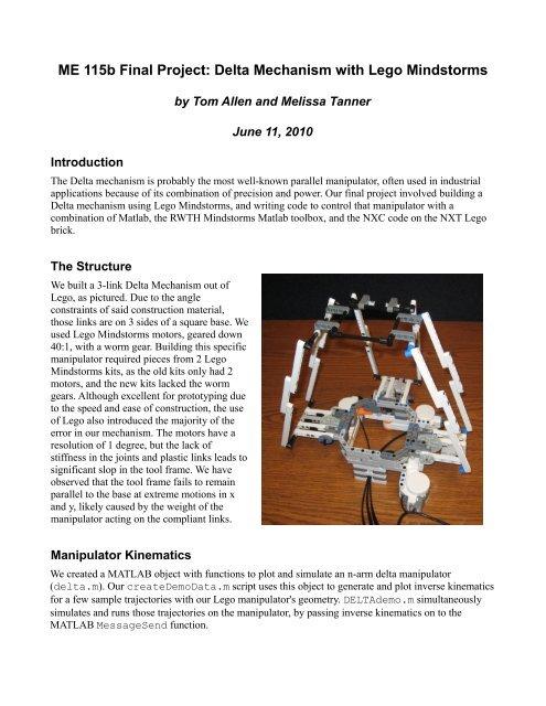 ME 115b Final Project: Delta Mechanism with     - UGCS - Caltech