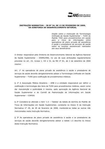 INSTRUÇÃO NORMATIVA – IN Nº 34, DE 13 DE FEVEREIRO DE 2009, DA ...
