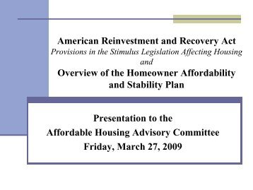 Briefing on Federal Stimulus Funding Relating to Housing - e-ffordable
