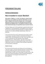NLG investiert in neuen Standort - IDS Logistik GmbH