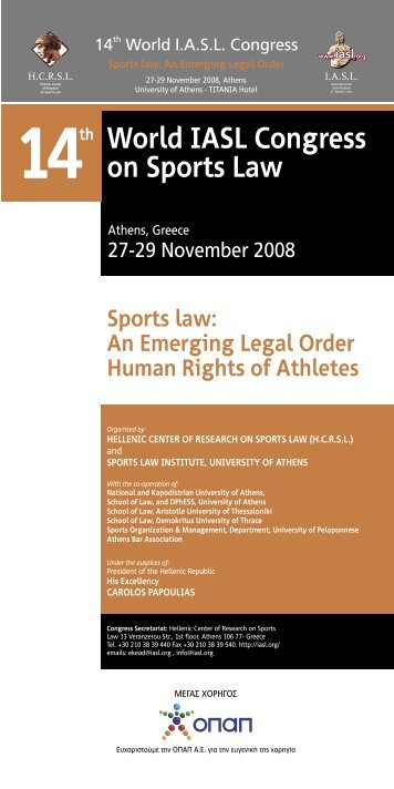 congress program - International Association of Sports Law
