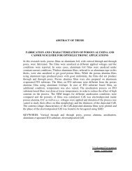 ABSTRACT OF THESIS FABRICATION AND CHARACTERIZATION ...