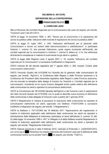 Delibera 49/13/CRL - Corecom