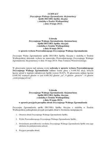 Uchwały ZWZA spółki DECORA SA 10-05-2013
