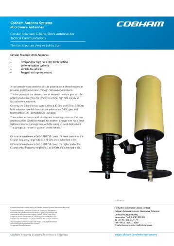 Circular Polarised, C-Band, Omni Antennas for Tactical ...