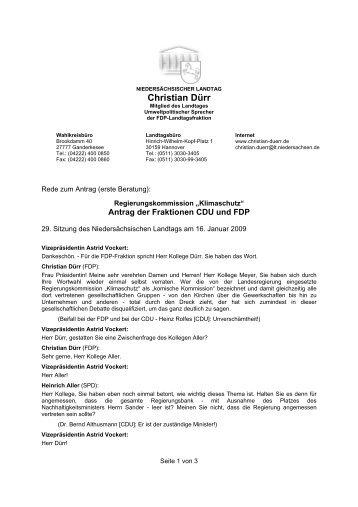 """Regierungskommission """"Klimaschutz"""" - Dürr, Christian (MdL)"""