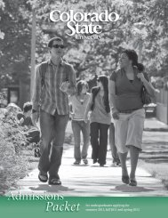 Application Packet - Admissions - Colorado State University