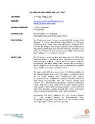 the verandah resort & spa fact sheet - Cheryl Andrews Marketing ...