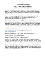 Booster Club Volunteer Agreement Form - Incarnate Word Academy