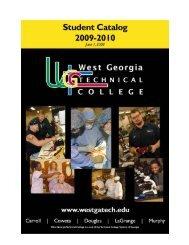 Student Catalog 2009-2010 - West Georgia Technical College