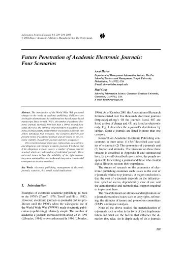 Future Penetration of Academic Electronic Journals: Four Scenarios