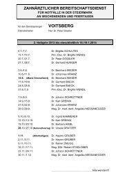 Zahnärztlicher Wochenend- u. Feiertagsdienst im 2. Halbjahr 2013