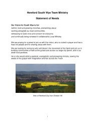 Hereford South Wye Team Ministry Statement of Needs