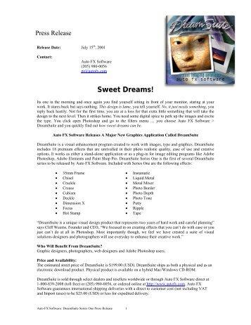 Sweet Dreams! - Auto FX Software