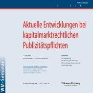 Aktuelle Entwicklungen bei kapitalmarktrechtlichen ... - WM Seminare