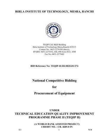 TEQIP-II/JH/JH2G01/274 - Birla Institute of Technology