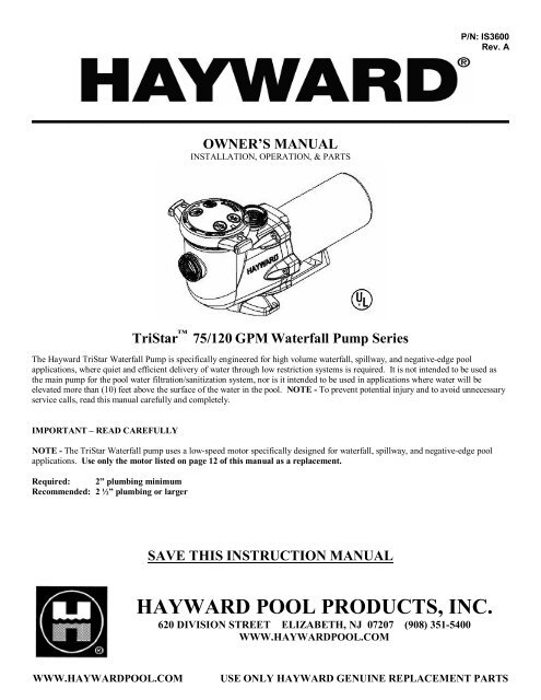 Hayward TriStar - Home - Swimming Pool Parts Filters Pumps