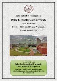 B.Tech & MBA Dual Degree Programme Brochure 2013-16