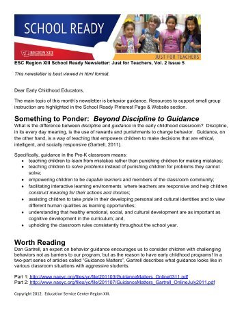 Just for Teachers, Vol 2, Issue 5-Behavior Guidance - Region 13