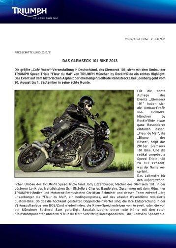 Die Presseerklärung zum Glemseck 101 Motorrad von Triumph ...
