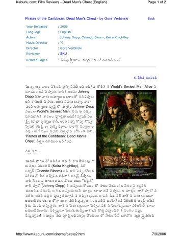 Pirates of the Caribbean: Dead Man's Chest - by Gore ... - Kaburlu.com