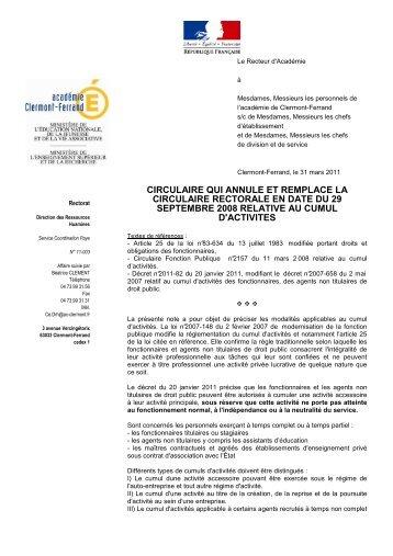 Circulaire cumul d'activités 2011 - Académie de Clermont-Ferrand