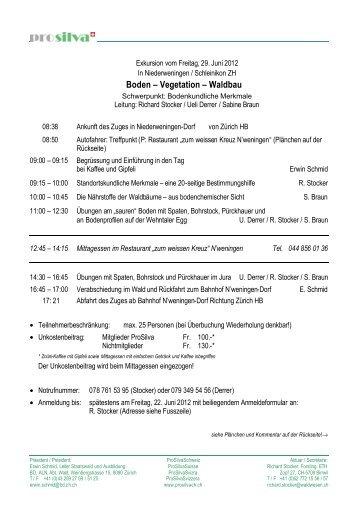 Boden – Vegetation – Waldbau - Prosilva