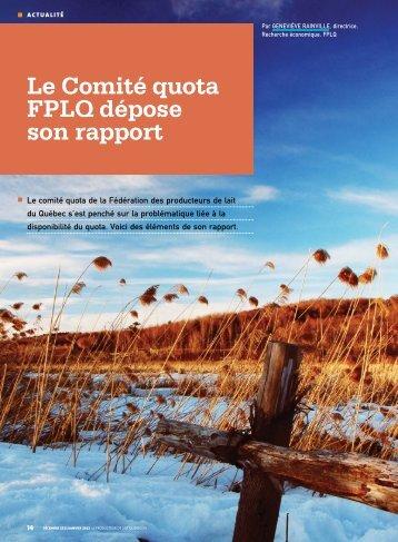 Le Comité quota FPLQ dépose son rapport - Fédération des ...