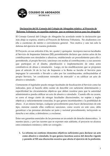 Declaracion del Colegio de Abogados a Proyecto Reforma Tributaria  - Junio 2014